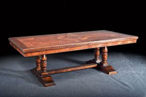 Art. 851 table, Classical extendable table, with floral patterns inlay