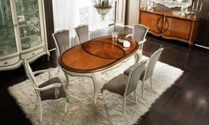 Bourbon Art. 80.063L, Extending oval table, with inlays and carvings