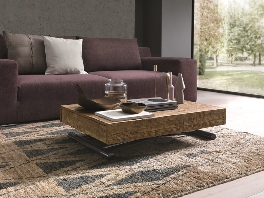 Compact, Height adjustable coffee table with gas-lift