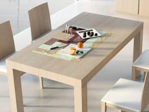 Complements Table 05, Extendible wooden table, for contract use
