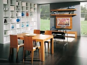 Complements Table 08, Extendible wooden table, for dining and living rooms