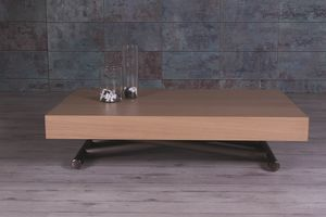 Double, Coffee table with wooden top, adjustable and extendable