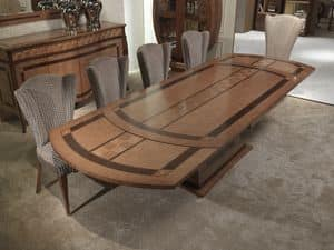 TA62k Charme, Extendable inlaid wooden table, for restaurants