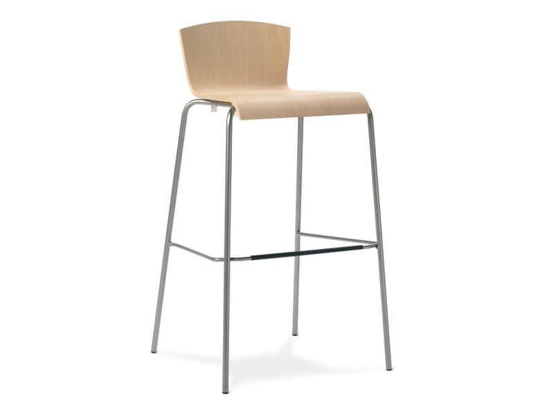 SG. UGO, Metal stool, wooden shell, for bars and kitchens