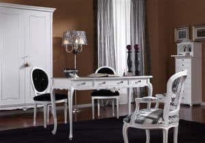 3620 DESK, Desk with 3 drawers with knobs swaroski, white lacquered