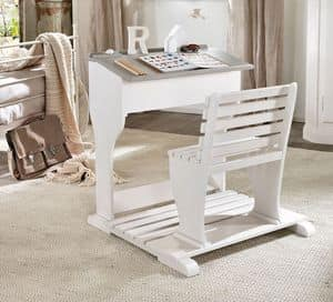 Beniamino child desk, Ergonomic desk for child, in wood, with bench