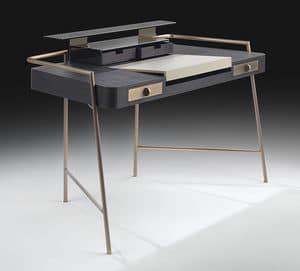 Flat, Desk with steel legs, wood and leather top