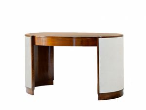 Victor desk, Oval desk with drawer, with leather base