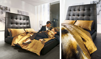 PACIFICO, Bed covered in leather, chrome legs, for bedroom