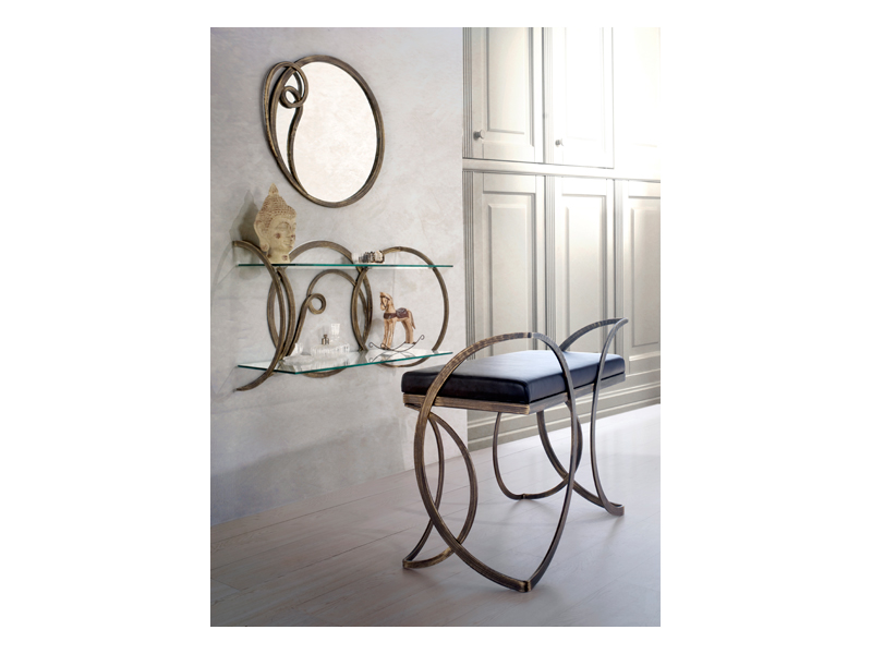 Azzurra bench, Metal bench with upholstered seat, for classic villas