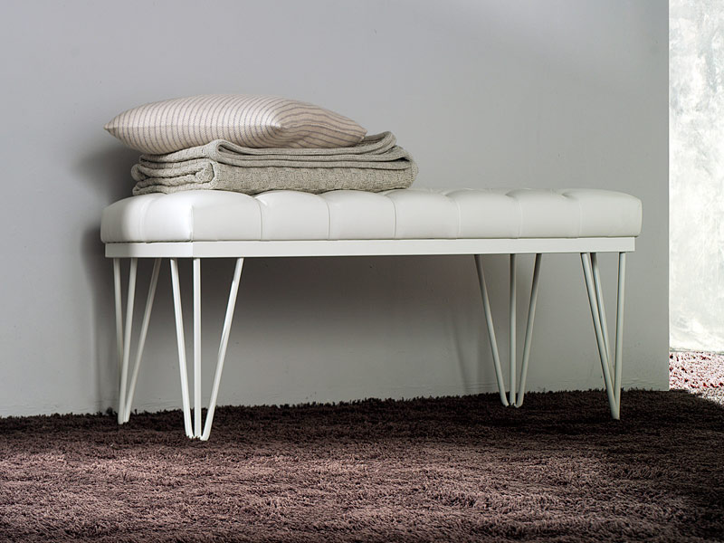 Vega bench, Metal bench with upholstered in faux leather