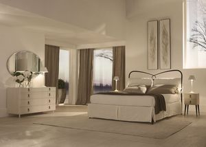 St.Tropez bed, Bed with tapered feet, finishes done by hand