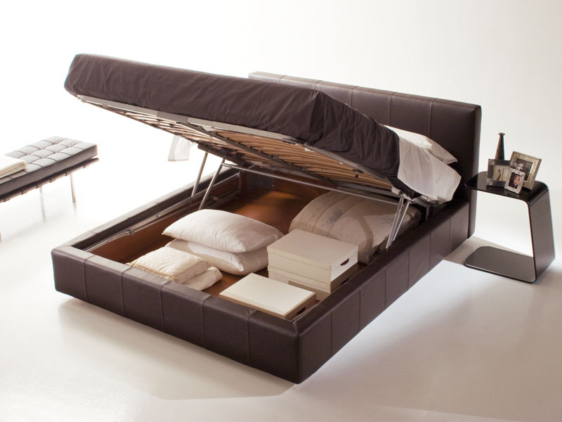 Gamma, Bed with storage box, removable fabric, modern hotel