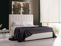 Polaris, Upholstered bed with container and high headboard, for hotel