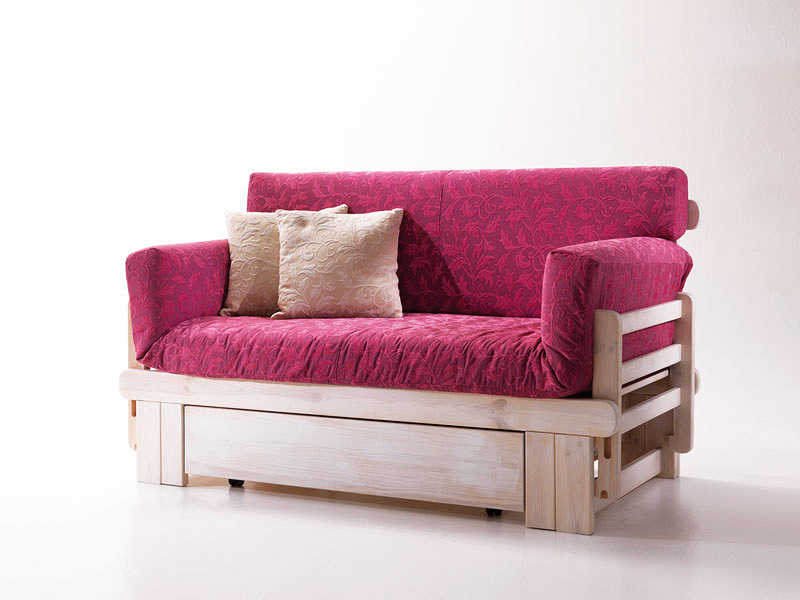 Botticelli, Rustic sofa bed, wooden, with container