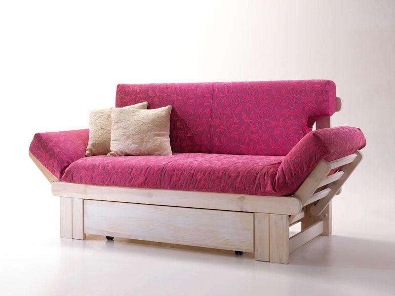 Rustic sofa bed wooden with container idfdesign - Divano letto rustico ...