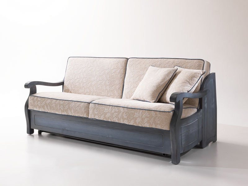 Cimabue Rustic Sofa Bed With Wooden Frame In Provencal Style