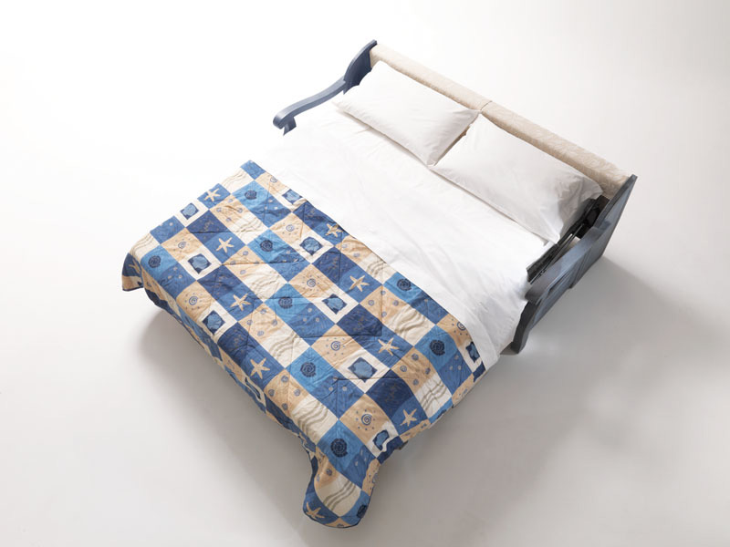 Cimabue, Rustic sofa bed, with wooden frame, in Provencal style