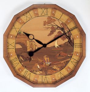 Art. 201/1, Wall Clock in natural inlaid wood