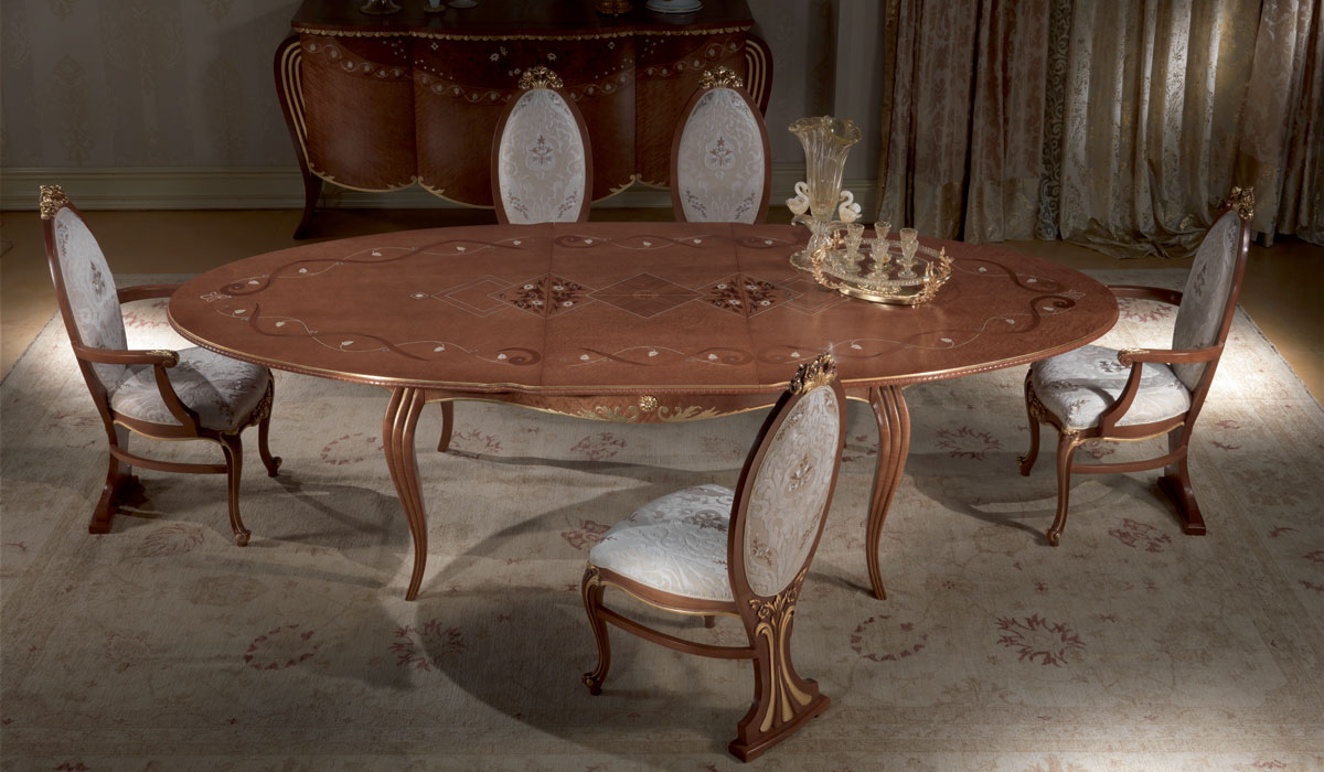 TA51 Vanity table, Antique dining table, oval, extendable, gold leaf