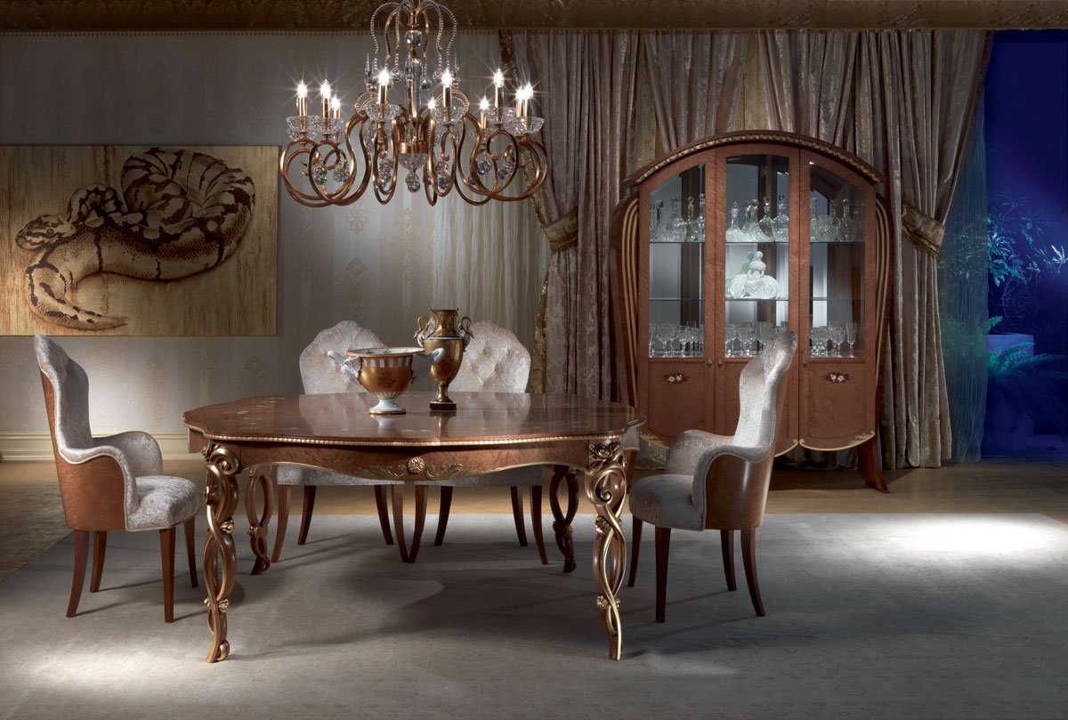 TA52 Vanity table, Classic table in carved wood, stained walnut, gold leaf