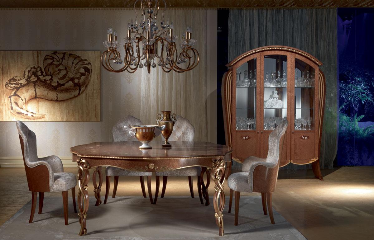 VE38 Vanity display cabinet, Display cabinet in walnut-tinted maple, floral inlays