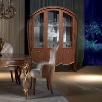 VE38 Vanity display cabinet, Display cabinet in walnut-tinted maple, floral inlays