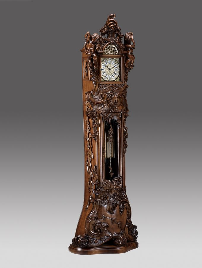 Grandfather clock hand-curved in baroque style with 2 Angels, walnut ...