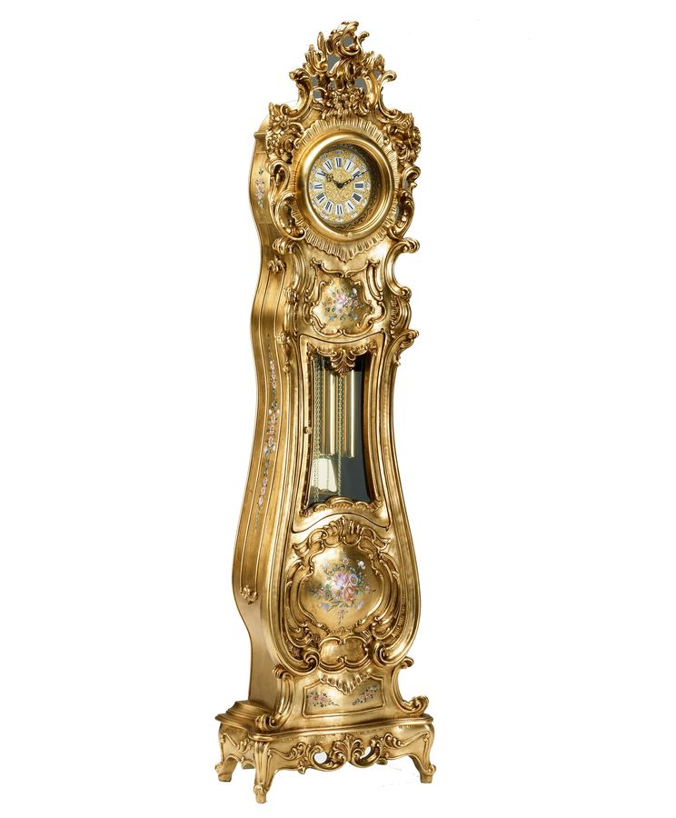Grandfather Clock Handcurved In Baroque Style In Gold Leaf
