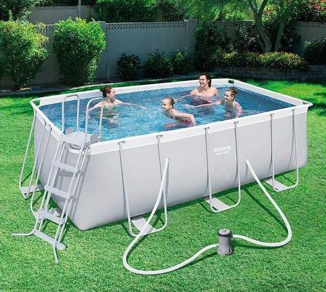 Above ground pool Bestway 56456 rectangular power frame 412x201x122cm - 56456, Above-ground rectangular pool Bestway
