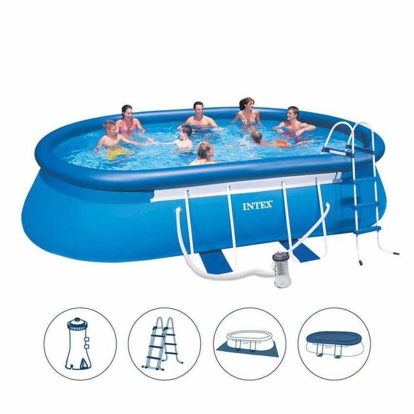 Above ground pool Intex 26192 ex 28192 Oval Frame oval 549x305x107 - 26192, Large inflatable pool with ladder and water filter