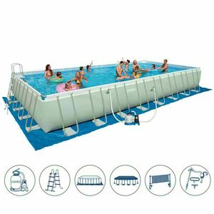 Above ground pool Intex 26376 ex 28376 Ultra Frame rectangular large volley 975x488x132 - 26376, Above ground pool with volleyball set