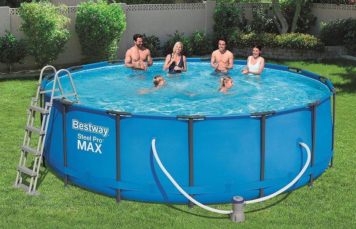 Bestway 56438 Above Ground Swimming Pool Round Steel Pro MAX 457x122 cm - 56438, Round pool in sturdy TriTech