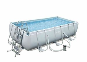 Bestway 56441 Power Steel Above Ground Rectangular Swimming Pool 404x201x100 cm - 56441, Robust above ground pool