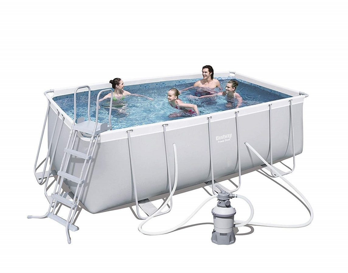 Bestway 56457 Rectangular Above Ground Pool Power Steel 412x201x122 cm - 56457, Above ground pool for garden