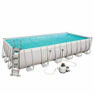 Bestway 56475 Above Ground Swimming Pool Rectangular Power Steel 732x366x132 cm - 56475B, Large above ground pool for garden