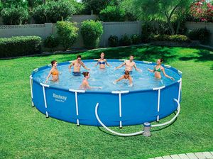 Bestway 56595 Above Ground Swimming Pool Round Steel Pro MAX 427x84 cm - 56595, Round swimming pool, for garden