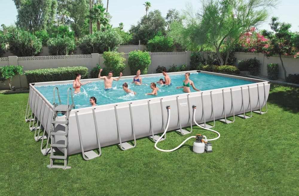 Bestway 56623 Power Steel Above Ground Rectangular Frame Pool 956x488x132cm - 56623, Large garden swimming pool