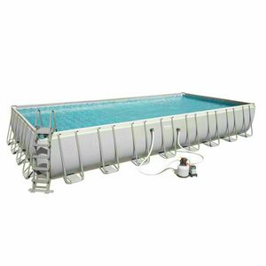 Bestway 56623 Power Steel Above Ground Rectangular Frame Pool 956x488x132cm - 56623, Large garden swimming pool