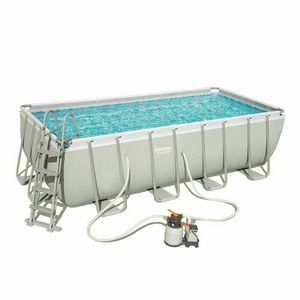 Bestway 56671 Power Steel Rectangular Above Ground Pool 488x244x122 cm - 56671, Above ground swimming pool with ladder