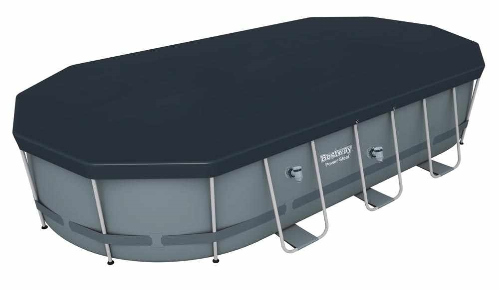 Bestway 56710 Power Steel Oval Above Ground Pool 549x274x122 cm - 56710, Oval swimming pool for garden