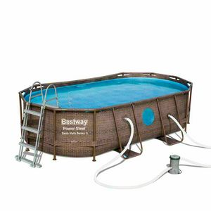 Bestway 56714 Oval Above Ground Pool With Swim Vista Porthole 427x250x100 cm - 56714, Swimming pool with wicker effect structure