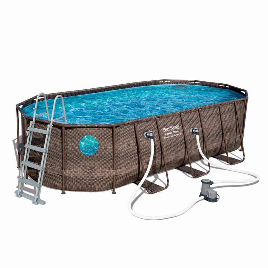 Bestway 56716 Oval Above Ground Pool with Swim Vista Porthole 549x274x122 cm - 56716, Wicker effect swimming pool