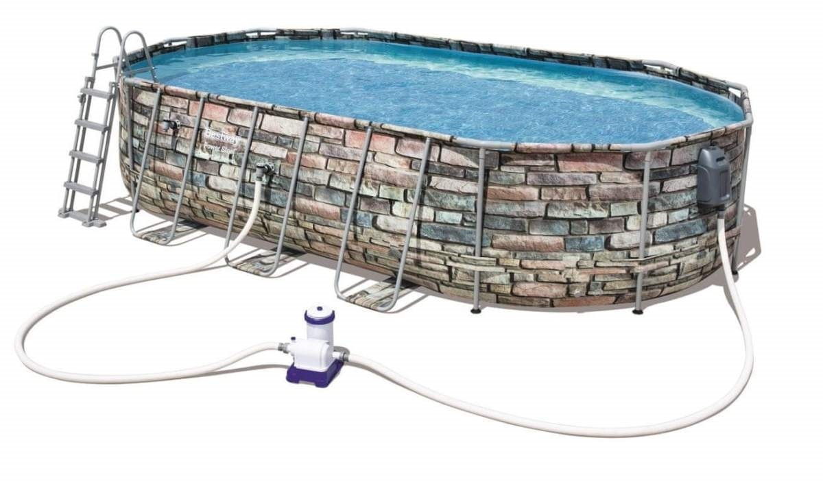Bestway 56719 Power Steel Above Ground Swimming Pool Oval Set 610x366x122 cm - 56719, Pool with stone effect