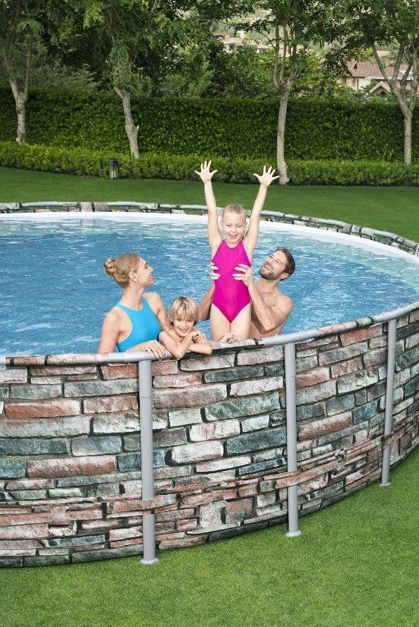 Bestway 56883 Power Steel Round Above Ground Pool of Steel 610x132 cm - 56883, Round pool, stone effect