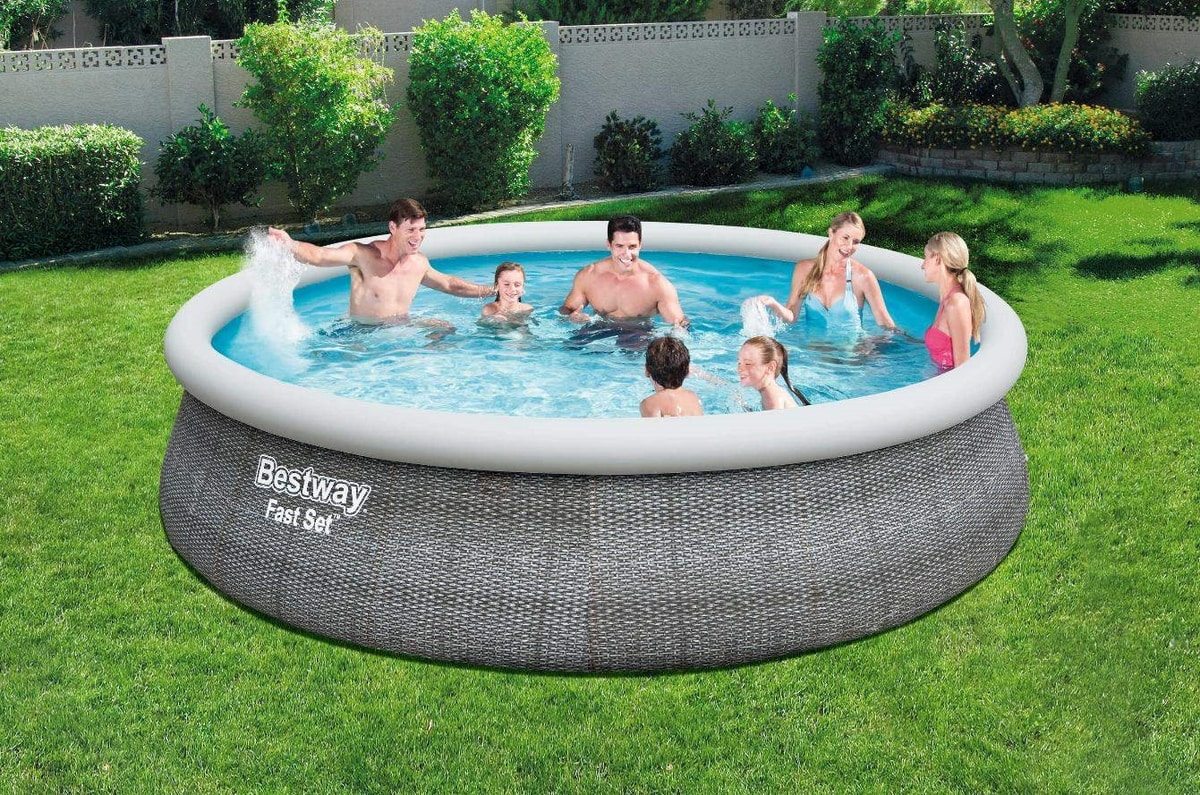 Bestway 57372 Fast Set Round Above Ground Swimming Pool 457x107 cm - 57372, Pool easy to assemble
