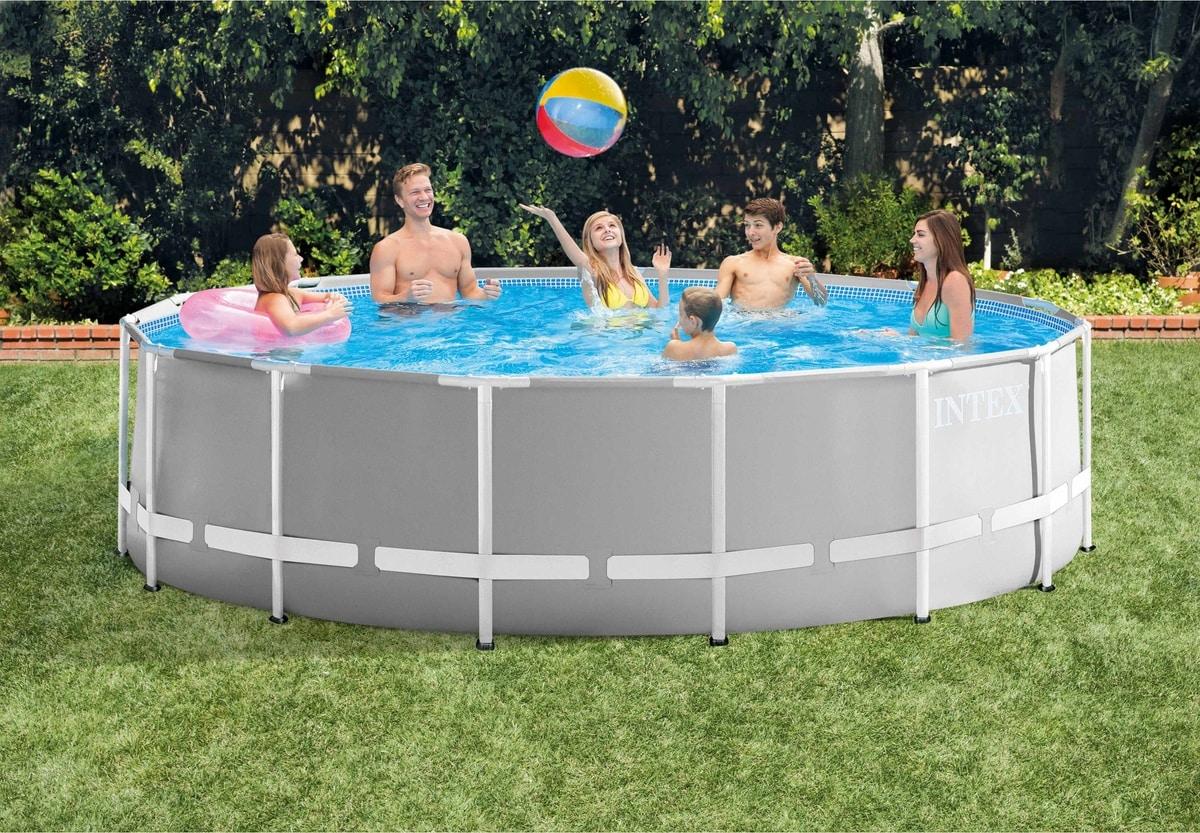 Intex 26726 ex 26736 Prism Frame Round Above Ground Pool 457x122cm - 26726, Round swimming pool for garden