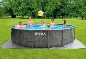 Intex 26742 Round Above Ground Pool Prism Frame Greywood 457x122 cm - 26742, Swimming pool with wood effect exterior