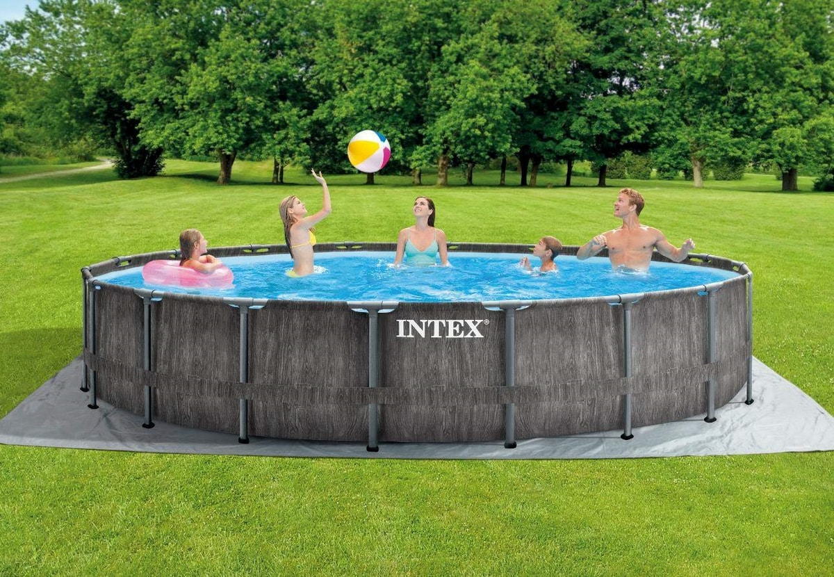 Intex 26744 Round Above Ground Pool Prism Frame Greywood 549x122 cm - 26744, Swimming pool with wood effect finish