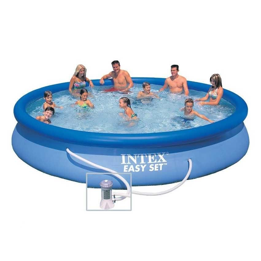 Intex 28158 Easy Set above ground inflatable pool round 457x84 - 28158, Large inflatable pool for outdoor use